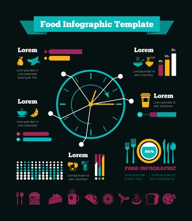 Flat Design Food Infographic Elements plus Icon Set.  Vector