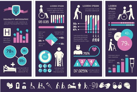 physical impairment: Flat Disability Infographics Elements plus Icon Set. Vector.