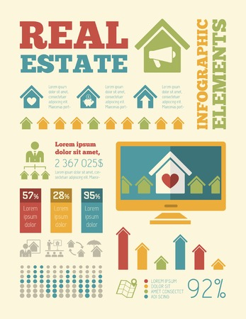 Real Estate Infographic Elements plus Icon Set.