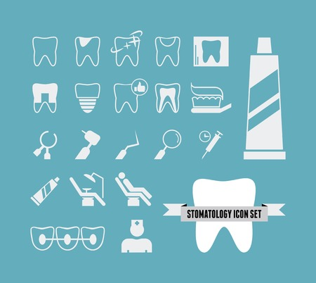 dentist icon: Flat Dental Infographics Elements plus Icon Set.  Illustration