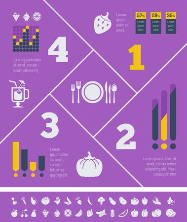 Flat Food Infographic Elements plus Icon Set.  Vector