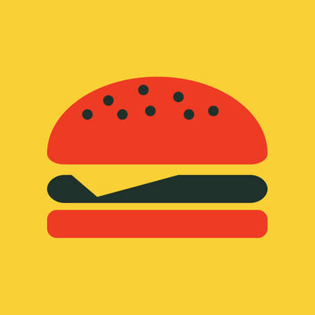 ham sandwich: Food Flat Icon. Illustration