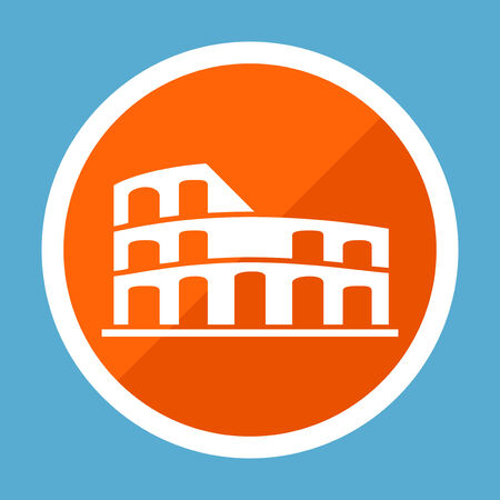 amphitheatre: Travel Flat Icon with Shadow. Vector Pictogram.  Illustration