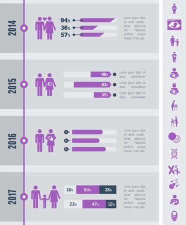 breastfeeding: Flat Maternity Infographics Elements plus Icon Set. Vector.