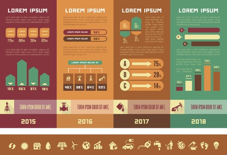 opportunity: Oil Industry Infographic Elements. Plus Icon Set. Opportunity to Highlight any Country On the World Map.  Illustration