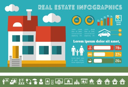 real estate investment: Real Estate Infographic Elements plus Icon Set.