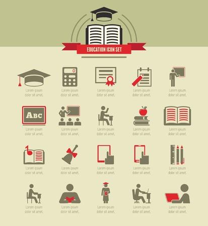 computer education: Education Infographic Elements plus Icon Set.  Illustration