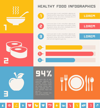 Flat Healthy Food Infographic Elements.  Vector