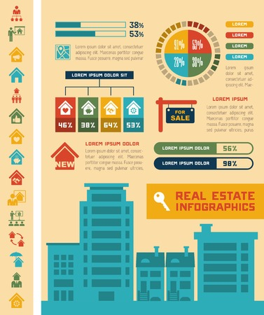 debt collection: Real Estate Infographic Elements plus Icon Set.