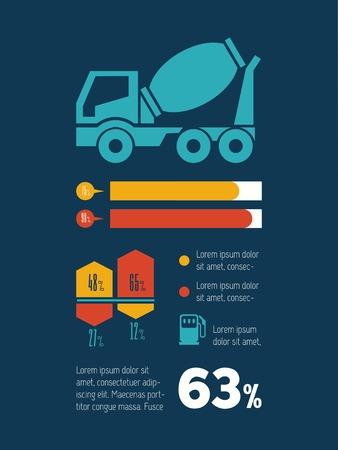 Transportation Flat Infographic Element Graphics  Illusztráció