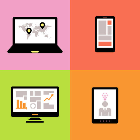 device: Technology Flat Infographic Element  Vector Graphics  Illustration