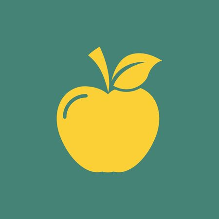 golden apple: Flat Education Icon  Vector Graphics  Illustration