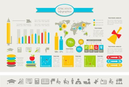 onderwijs: Onderwijs Infographic Elementen plus Icon Set Stock Illustratie