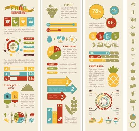Flat Food Infographic Elements plus Icon Set