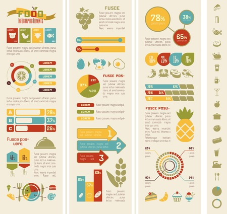 Flat Food Infographic Elements plus Icon Set