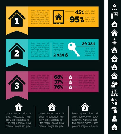 debt collection: Real Estate Infographic Elements plus Icon Set