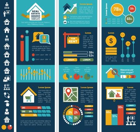 Bienes Raíces Infografía elementos más Icon Set