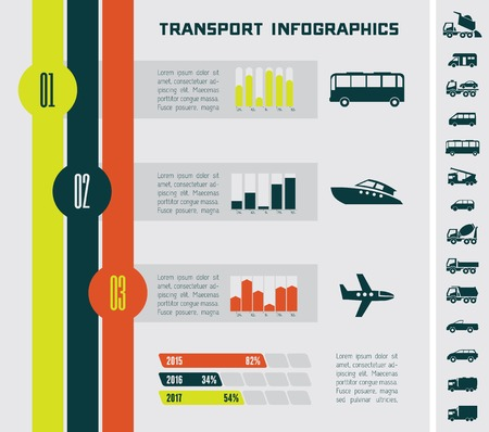 Flat Transportation Infographic Elements plus Icon Set Vector