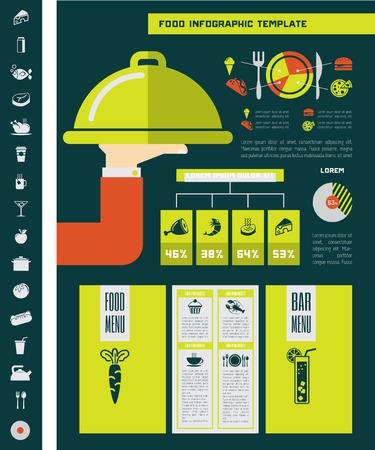 Flat Food Infographic Elements plus Icon Set Vector
