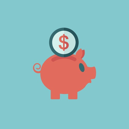 savings account: Piggy Bank Flat Icon  Vector Graphics