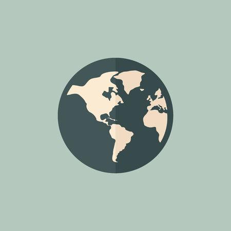 地球アイコン フラット デザインのベクトル