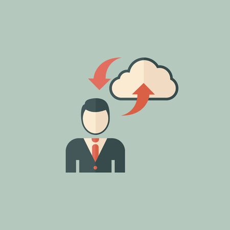 Cloud Computing  Icon  Flat Design  Vector  Ilustração