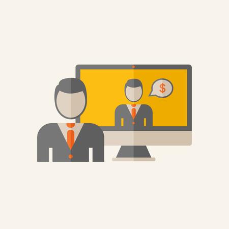 Business Flat symbool grafieken Stock Illustratie