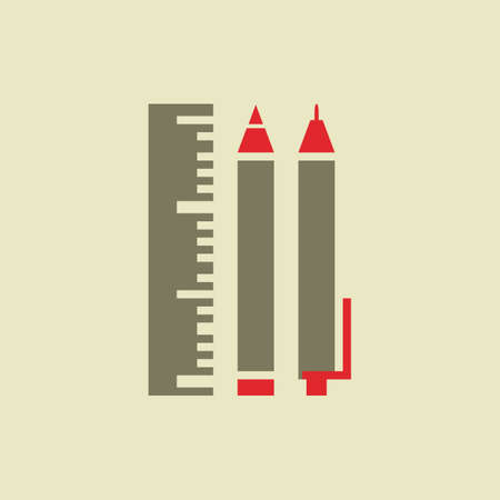 implements: Flat Education Icon. Vector Graphics.