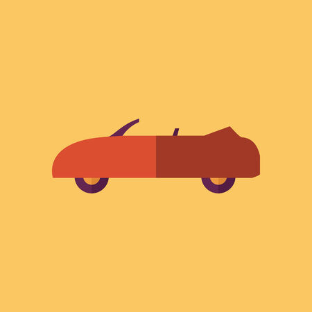 Cabriolet Transportation Flat Icon. Vector Pictogram. EPS 10.
