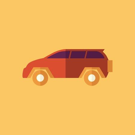 car transportation: Coche Familia. Icono Flat Transporte. Vector del pictograma. EPS 10.