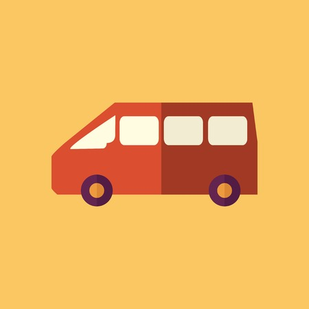 mini van: Mini Van. Transportation Flat Icon. Vector Pictogram. EPS 10. Illustration