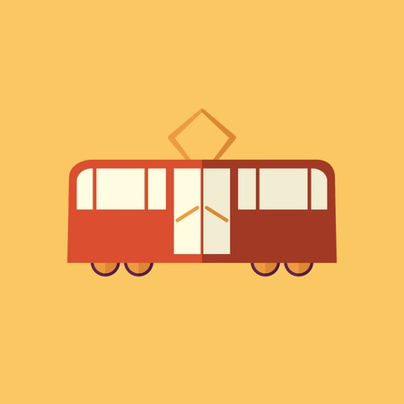 streetcar: Tram. Transportation Flat Icon. Vector Pictogram. EPS 10.
