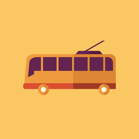 troley: Trolley. Transportation Flat Icon. Vector Pictogram. EPS 10. Illustration