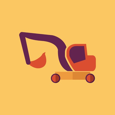 Excavator. Transportation Flat Icon. Vector Pictogram. EPS 10. Vector
