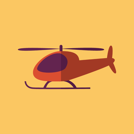 helicopter rescue: Helicopter. Transportation Flat Icon. Vector Pictogram. EPS 10. Illustration