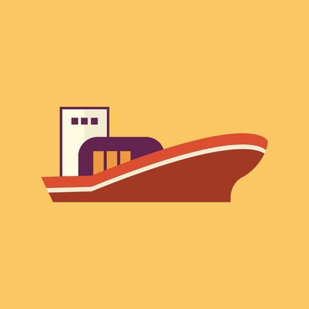 Boat. Transportation Flat Icon. Vector Pictogram. EPS 10.