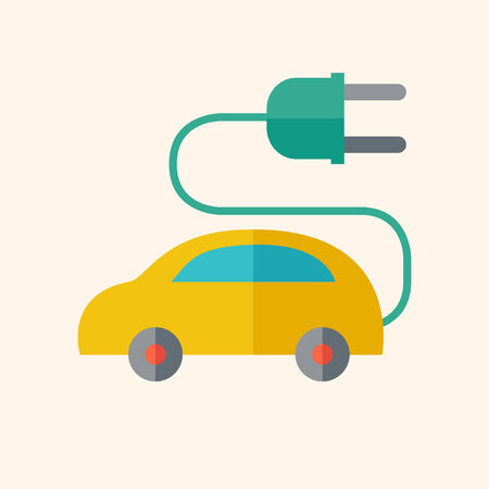 electric vehicles: Electric Car. Ecology Icon. Flat Design. Vector EPS 10. Illustration