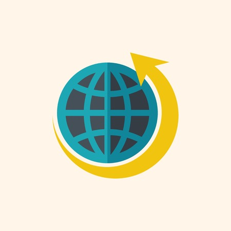 Green World. Ecology Icon. Flat Design. Vector EPS 10. Иллюстрация
