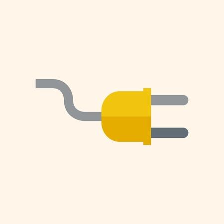 Plug. Ecologie pictogram. Flat Design. Vector EPS-10.
