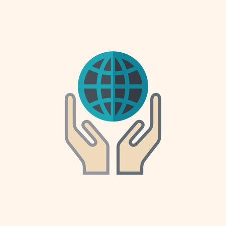 flat earth: Help. Ecology Icon. Flat Design. Vector EPS 10.