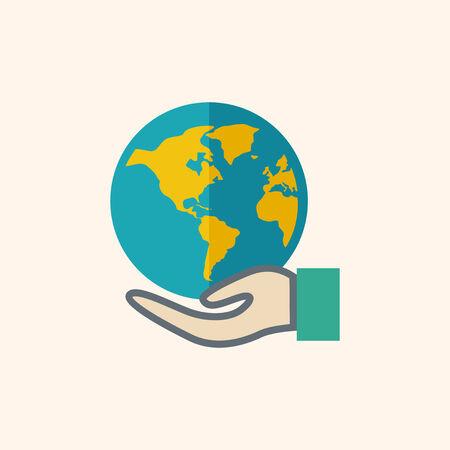 flat earth: Global. Ecology Icon. Flat Design. Vector EPS 10.