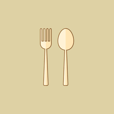 Spoon and Fork. Food Flat Icon Çizim