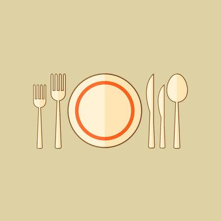 Kitchenware. Food Flat Icon.  Çizim