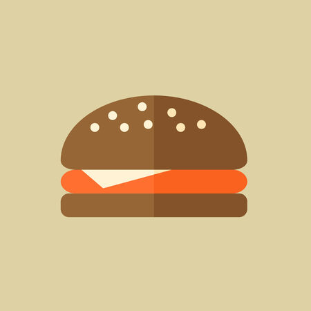 Hamburger. Food Flat Icon.  Ilustracja