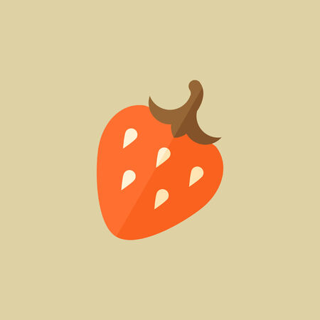 Strawberry. Food Flat Icon. Vector EPS 10.