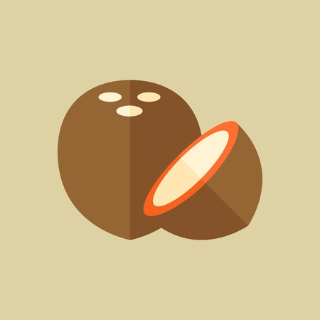 coconut: Coconut. Food Flat Icon. Vector EPS 10.