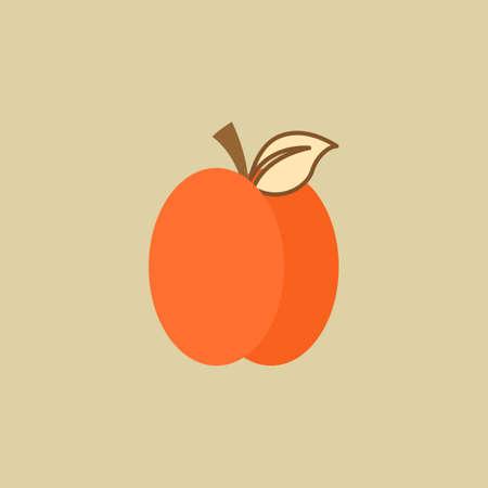 Plum. Food Flat Icon. Vector EPS 10. Çizim
