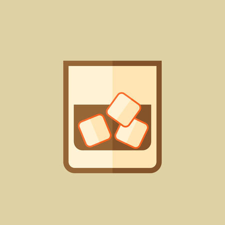 brandy: Whiskey. Food Flat Icon. Vector EPS 10. Illustration