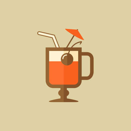 cocktail drink: Cocktail. Drink Flat Icon. Vector EPS 10.