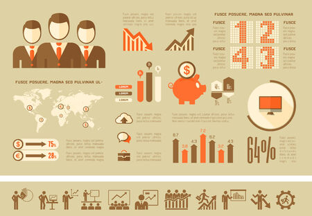 Flat Business Infographic Elements plus Icon Set. Vector. Vector